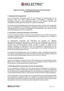 Allgemeine Einkaufs- und Zahlungsbedingungen für Dienstleistungen der BELECTRIC GmbH 10/2019